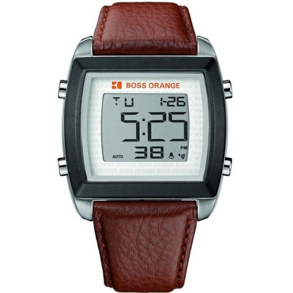 8108e5e14dc Shop Boss Orange Men s Chronograph Digital Leather Watch - Free Shipping  Today - Overstock - 8101474