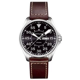 Hamilton Khaki Black Dial Pilot Watch|https://ak1.ostkcdn.com/images/products/8101510/8101510/Hamilton-Khaki-Black-Dial-Pilot-Watch-P15451669.jpg?impolicy=medium