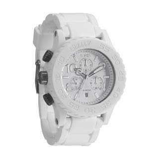 Nixon Men's Rubber Strap White Dial Chrono Watch|https://ak1.ostkcdn.com/images/products/8101514/8101514/Nixon-Rubber-Strap-White-Dial-Chrono-Watch-P15451676.jpg?impolicy=medium