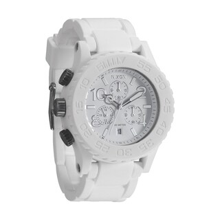 Nixon Men's Rubber Strap White Dial Chrono Watch