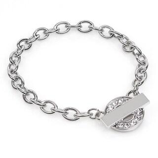 Silver Overlay Rhinestone Circle Toggle Bracelet