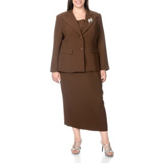 Giovanna Signature Women's Plus Size 2-button Mock 3-piece Skirt Suit