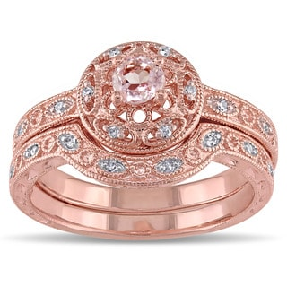 Miadora Rose-plated Silver Morganite and 1/10ct TDW Diamond Bridal Ring Set (H-I, I2-I3)