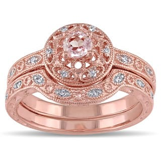 Miadora Rose-plated Silver Morganite and 1/10ct TDW Diamond Bridal Ring Set (H-I, I2-I3)|https://ak1.ostkcdn.com/images/products/8101586/P15451716.jpg?impolicy=medium