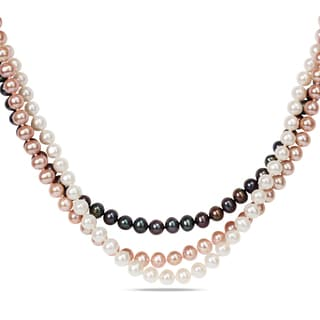 Miadora Sterling Silver Multi-colored Cultured Freshwater Pearl 3-piece Necklace Set (6-7 mm)