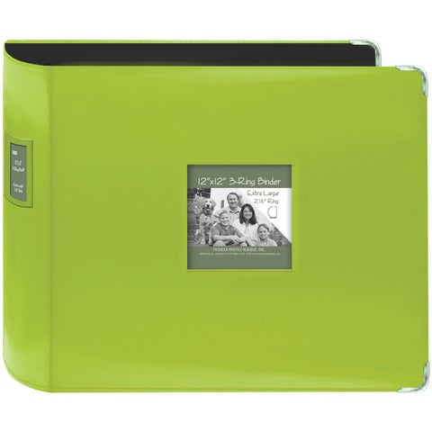 "Pioneer Sewn Leatherette 3-Ring Binder 12""X12""-Bright Green"
