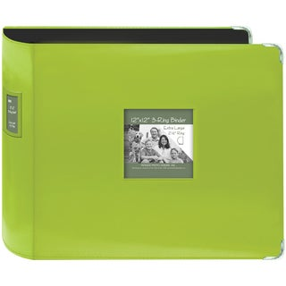 """Pioneer Sewn Leatherette 3-Ring Binder 12""""X12""""-Bright Green"""