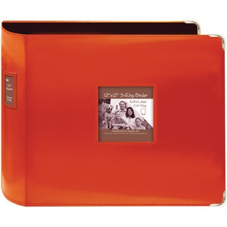 "Sewn Leatherette 3-Ring Binder 12""X12""-Bright Orange"