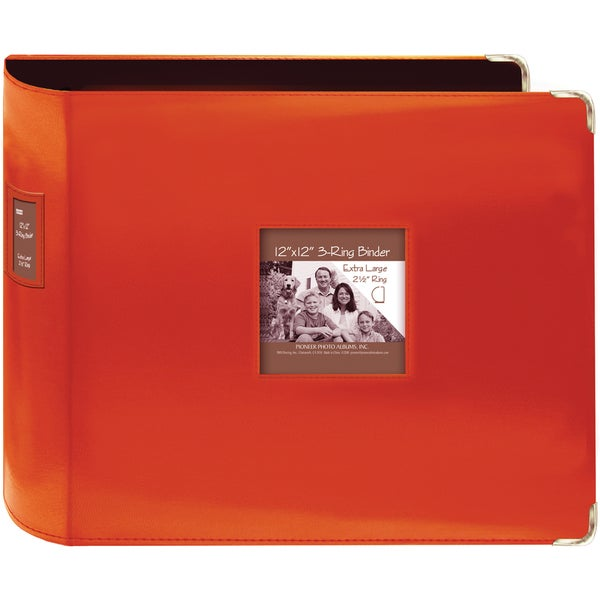 "Shop Sewn Leatherette 3-Ring Binder 12""X12""-Bright Orange"