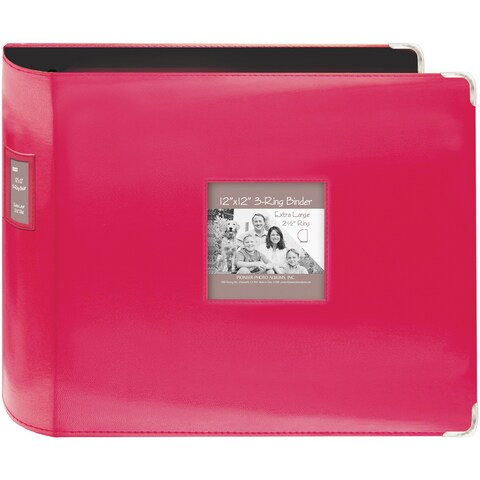 "Sewn Leatherette 3-Ring Binder 12""X12""-Bright Pink"