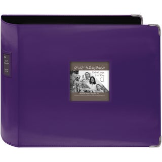 "Sewn Leatherette 3-Ring Binder 12""X12""-Bright Purple"