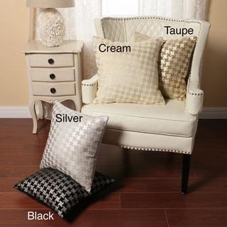 Aurora Home Houndstooth Metallic Print Velvety Throw Pillows (Set of 2)
