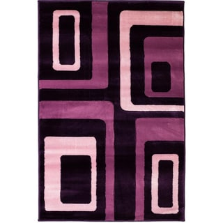 Hand Carved Geometric Squares Purple Area Rug (5'3 x 7'3)