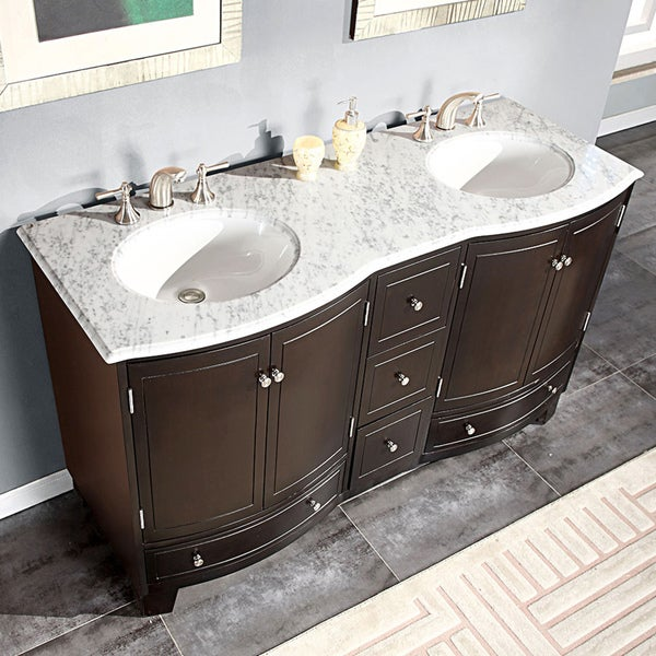 Stone Bathroom Vanity : ... 60-inch Travertine Stone Top Bathroom Vanity Double Sink Cabinet