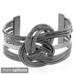 Hematite or Silvertone Wire Pretzel Twist Cuff Bracelet