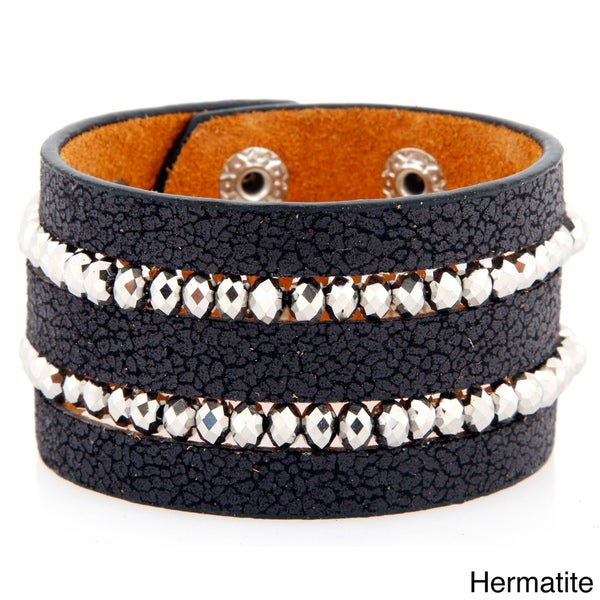 Crackled Leather and Silvertone Crystal Row Bracelet