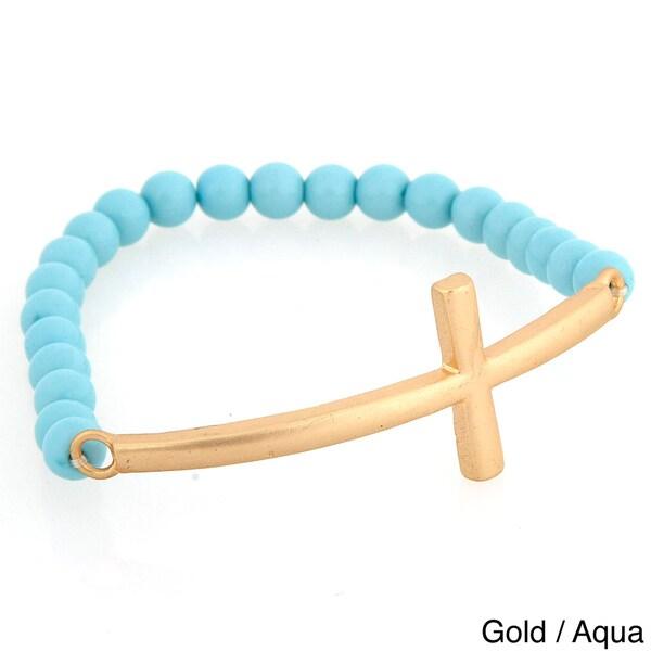 Goldtone Sideways Cross Beaded Stretch Bracelet