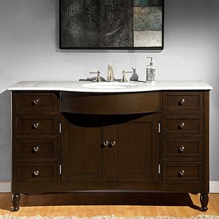 58 inch bathroom vanity. Silkroad Exclusive 58-inch Carrara White Marble Bathroom Vanity 58 Inch