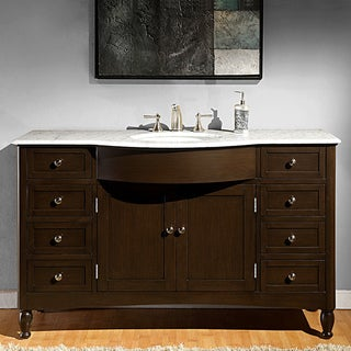 Link to Silkroad Exclusive 58-inch Carrara White Marble Bathroom Vanity Similar Items in Bathroom Vanities