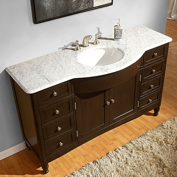 Silkroad exclusive 58 inch carrara white marble bathroom for How deep is a bathroom vanity