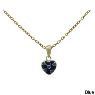 Junior Jewels 18k Gold Overlay Children's Enamel Hearts of Hearts Pendant