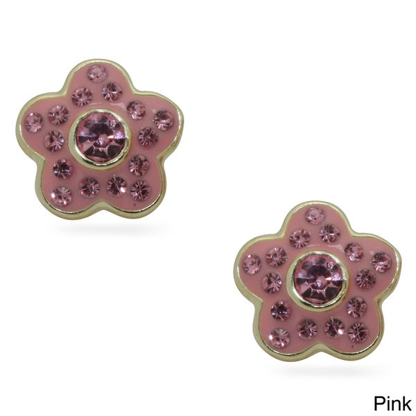 Junior Jewels 18k Gold Overlay Children's Crystal and Enamel Flower Earrings