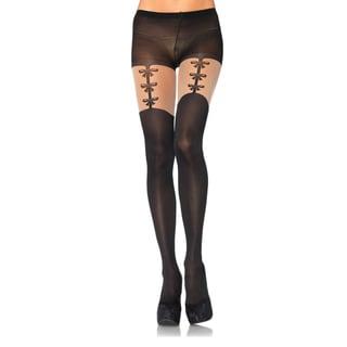 Leg Avenue Women's Spandex Opaque Faux Woven Garterbelt Pantyhose