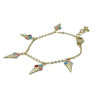 Junior Jewels 18k Yellow Gold Overlay Children's Enamel Ice Cream Charm Bracelet