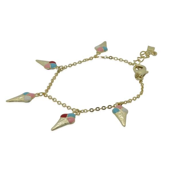 Junior Jewels 18k Yellow Gold Overlay Children's Enamel Ice Cream Charm Bracelet