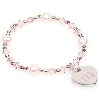 Link to Personalized Silver Freshwater Pearl and Crystal Heart Charm Bracelet (8 mm) Similar Items in Travel Accessories