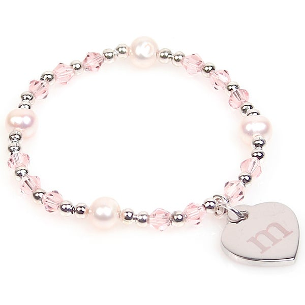 Personalized Silver Freshwater Pearl and Crystal Heart Charm Bracelet (8 mm). Opens flyout.