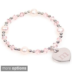 Personalized Silver Freshwater Pearl and Crystal Heart Charm Bracelet (8 mm) (More options available)