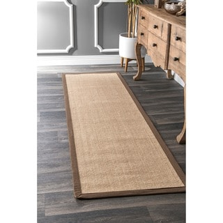 nuLOOM Natural-fiber Cotton-border Sisal Herringbone Runner Rug (2' 6 x 8')