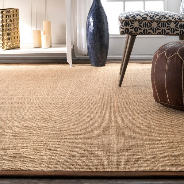 NuLOOM Natural Fiber Cotton Border Sisal Herringbone Runner Rug (2u0027 6 X