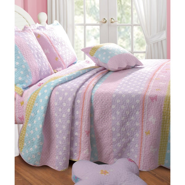 Greenland Home Fashions Polka Dot Stripe Bonus 5-piece Quilt Set