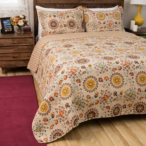 Greenland Home Andorra Oversized Reversible Cotton Quilt Set