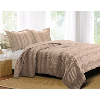 Greenland Home Fashions Tiana Country Taupe 3-piece Quilt Set