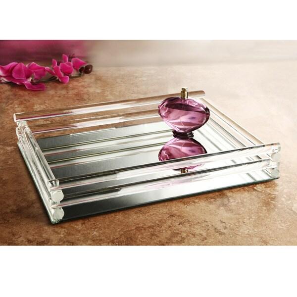 Shop Mirrored Glass Double Rail Vanity Tray 12 X 16
