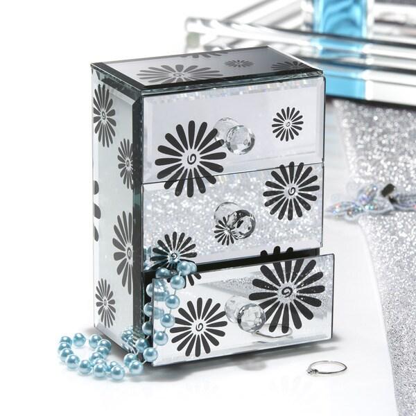 Black Flower Mirrored 3-drawer Jewelry Box