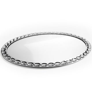 Mirrored Glass Oval Vanity Tray (18.5 x 13.5 inches)