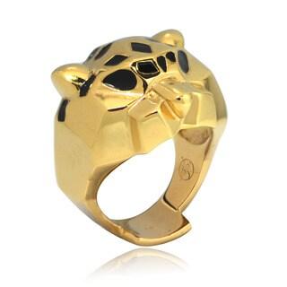 De Buman 14k Gold Overlay Leopard Enamel Ring