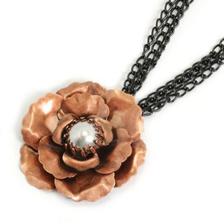 Sweet Romance Coppertone and Black-plated Faux Pearl Camellia Necklace