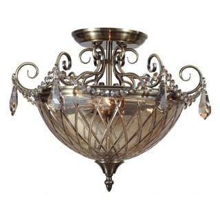 Avery 3-Light Antique Brass Semi-Flush Fixture