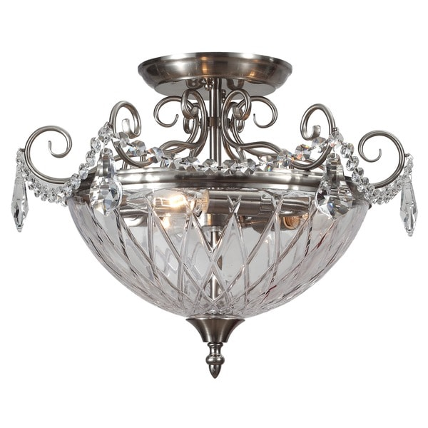 Crystorama avery collection 3 light polished chrome semi flush mount free shipping today Home decorators collection 4 light chrome flush mount