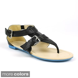 Mark & Maddux Women's 'CONI-02' Buckle Accent Flat Sandals