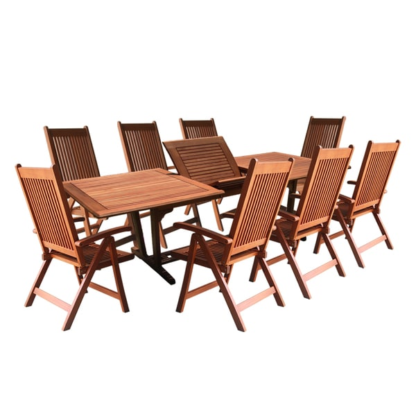 Rectangular Garden Table And Chairs Set: 9 -Piece Rectangular Extension Table And Reclining Chair