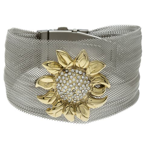 La Preciosa Stainless Steel Crystal Flower Bangle
