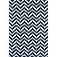 "Momeni Baja Chevron Navy Indoor/Outdoor Area Rug - 5'3"" x 7'6"""