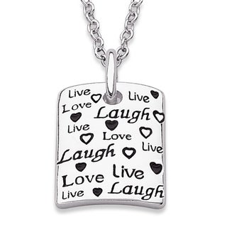 Sterling Silver 'Live Love Laugh' Tag Necklace