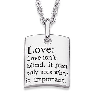 Sterling Silver 'Love' Sentiment Necklace